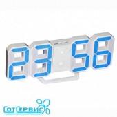 Будильник часы Perfeo LUMINOUS, белый корпус/синяя подсветка