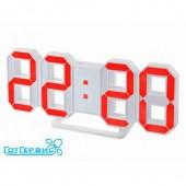 Будильник часы Perfeo LUMINOUS, белый корпус/красная подсветка