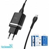 СЗУ 1USB 3A QC3.0 быстрая зарядка для micro USB HOCO C12Q 1м (Black)