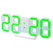 Будильник часы Perfeo LUMINOUS, белый корпус/зеленая подсветка