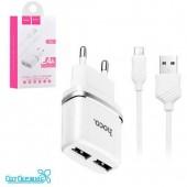 СЗУ HOCO 2USB для micro USB C12 2.4A White